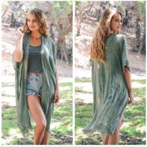 Sage Green Boho Kimono